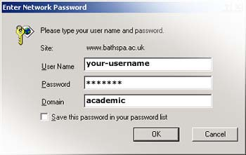 USERNAME: your-username, PASSWORD: your-password, DOMAIN: academic