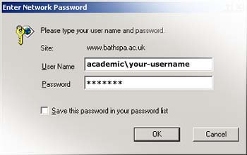 USERNAME: academic\your-username, PASSWORD: your-password